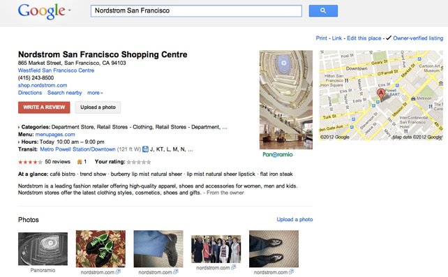 Nordstrom San Francisco Google Places