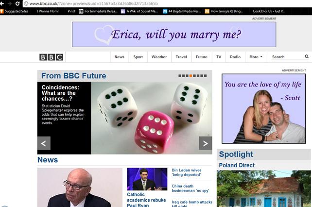 BBC.com marriage proposal ad