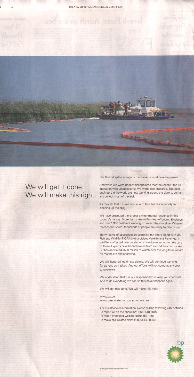 Get What Done Make It Right How You >> Bp Print Ads Promise To Make This Right Adage