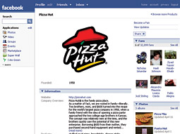Pizza Hut MySpace page