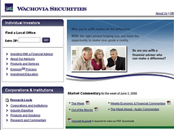 Wachovia website screen grab