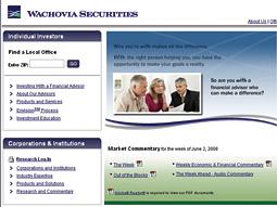 Wachovia website screen grab