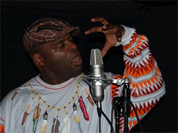 Kenny Muhammad in the studio recording for Skittles