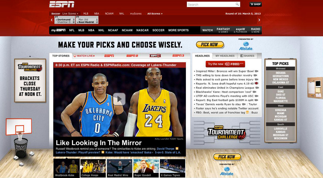 ESPN tournament challenge homepage