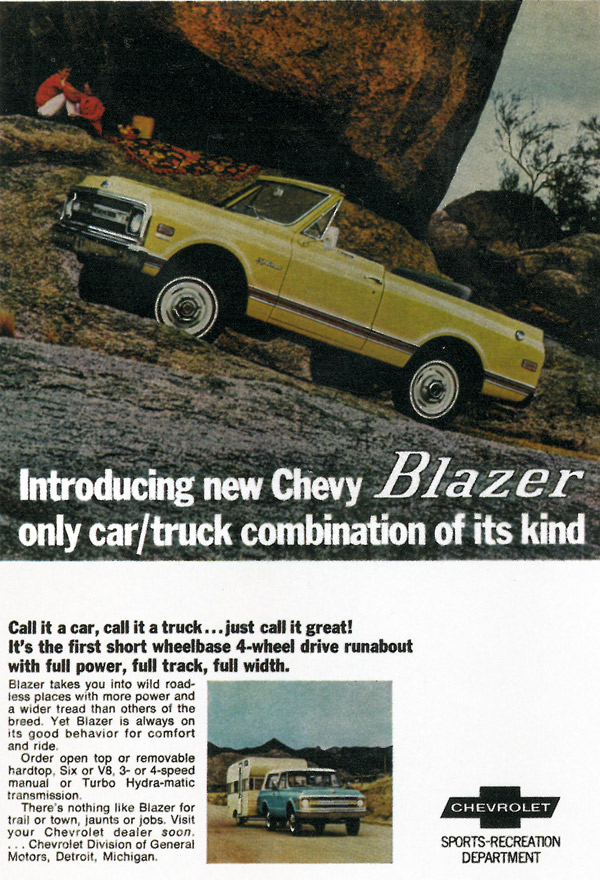 At Right Is An Ad For The Blazer Early Suv From Chevy S Sports Recreation Department