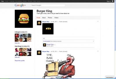 Burger King's Google+ page