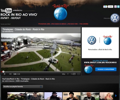 The YouTube channel for Rock in Rio, sponsored by Volkswagen do Brasil.