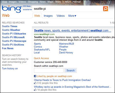 Bing Adds Facebook Recommendations to Search | AdAge