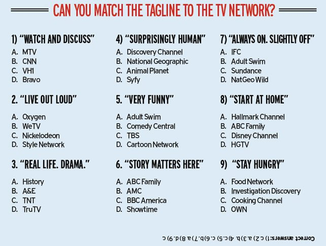 CAN YOU MATCH THE TAGLINE TO THE TV NETWORK?
