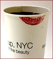 Advertising Age - That's Not a Dirty Coffee Cup, It's an Ad :  beauty cosmetics ads lipstick