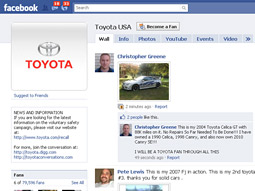 SOCIAL SKILLS: Toyota has boosted Facebook fans and created 'Toyota Conversations' to aggregate and respond to chatter.