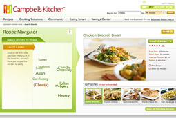 CampbellsKitchen.com users can search for dinner options by mood, with choices linked to flavors.