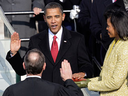 Barack Obama being sworn in as the 44th president of the U.S.