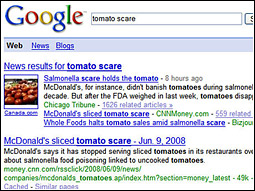 A search for 'tomato scare' at today's Conversational Marketing Summit resulted in no ads addressing the problem.