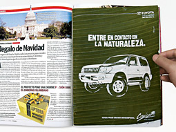 Ads for Toyota were printed on banana leaves and inserted in copies of Semana.