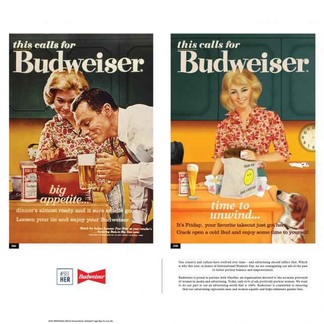 Budweiser modernizes its old sexist ads for Women's Day
