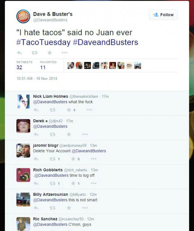 Dave & Buster's Deletes Tweet About Guys Named Juan Loving Tacos   AdAge